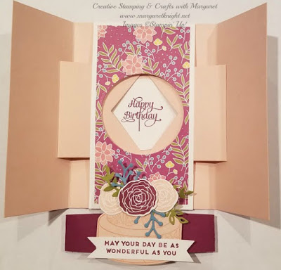 Interior of Shutter Card featuring Stampin' Up! Cake Soiree Bundle & Sweet Soiree DSP