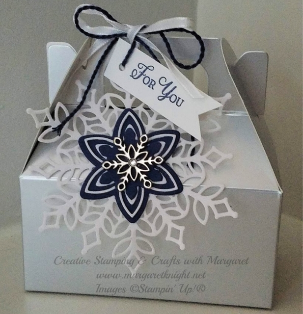 Silver Mini Gable Box with Snowfall Thinlits Die Embellishment
