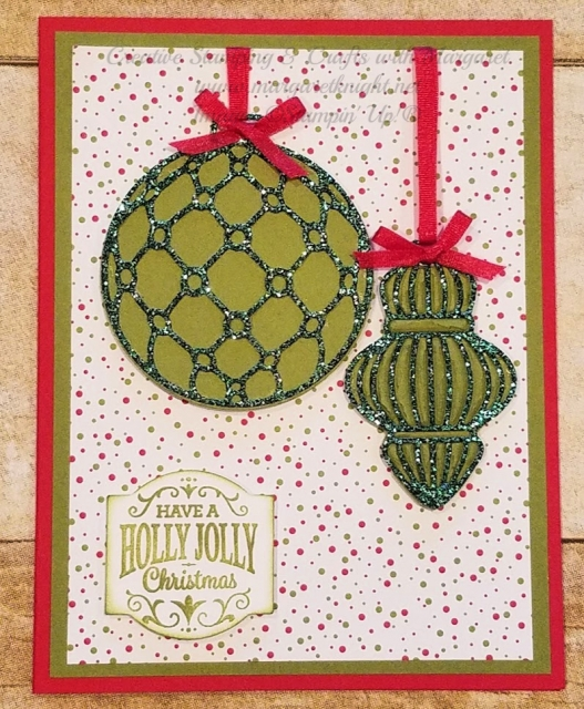 Card using the beautiful Detailed Baubles thinlits from Stampin' Up! and Joyous Glimmer Paper
